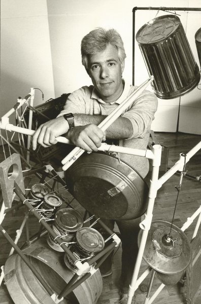 Larry Stein with Junk Drum Set