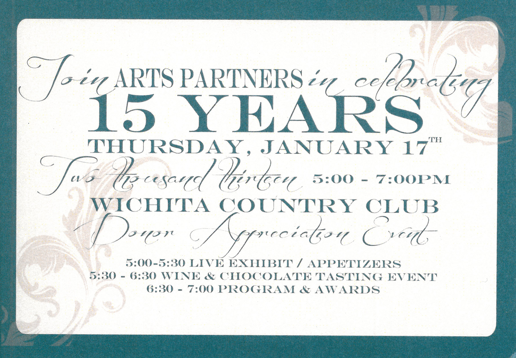 Arts Partners Wichita Anniversary Invite