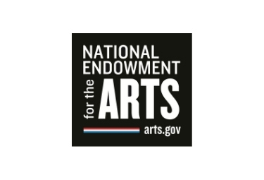 NEA Logo, Black box with white lettering, colorful stripe at bottom